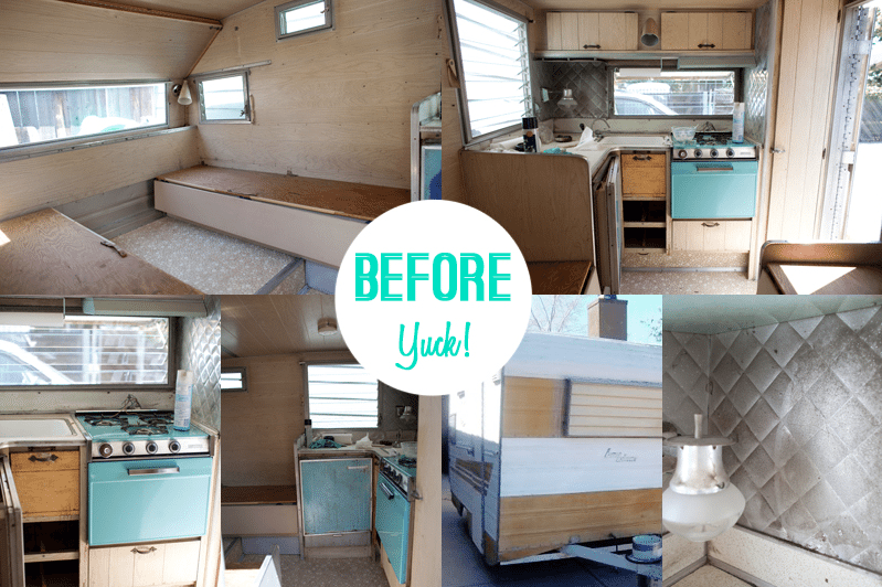 Caravan makeover before