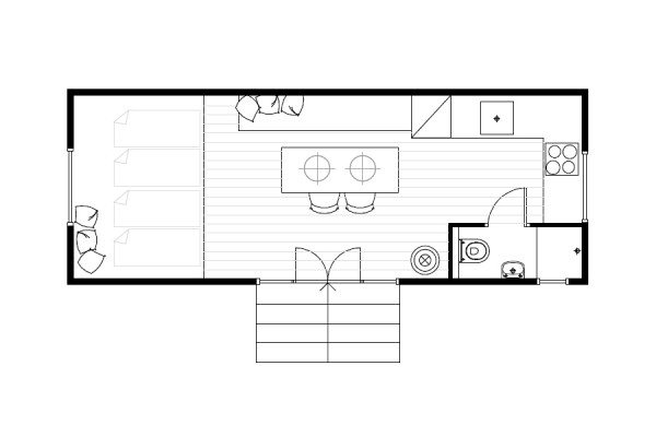 Vloerplan buitenhuisje Caravanity 4